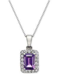 "Macy's - Amethyst (1 Ct. T.w.) & Diamond (1/6 Ct. T.w.) 18"" Pendant Necklace In 14k White Gold - Lyst"