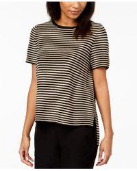 Eileen Fisher - Organic Linen Striped High-low Jumper - Lyst