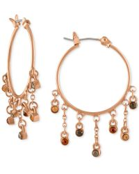 RACHEL Rachel Roy   Rose Gold-tone Multicolor Crystal Hoop Earrings   Lyst