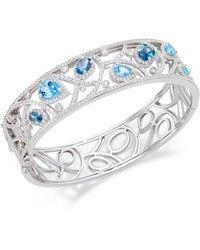 Macy's | Multi-topaz (7 Ct. T.w.) Filigree Bangle Bracelet In Sterling Silver | Lyst
