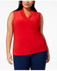 Anne Klein - Plus Size Gathered V-neck Shell - Lyst