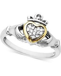Macy's - 14k Gold And Sterling Silver Ring, Diamond Accent Claddagh - Lyst