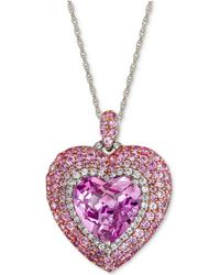 Macy's - Lab-created Pink Sapphire (6-3/8 Ct. T.w.) & White Sapphire (1/3 Ct. T.w.) Heart Pendant Necklace In Sterling Silver - Lyst
