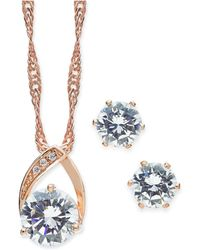 Charter Club - Rose Gold-tone 2 Pc. Set Crystal Teardrop Pendant Necklace And Stud Earrings, Created For Macy's - Lyst
