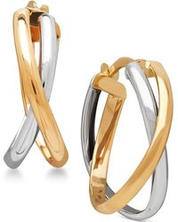Macy's - Two-tone Overlap Hoop Earrings In 14k White And Yellow Gold - Lyst