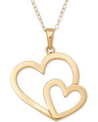 Macy's - Open Double Heart Pendant Necklace In 14k Gold - Lyst