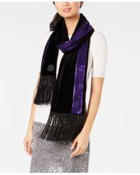 DKNY - Velvet Sequined Stripe Fringe Scarf, Created For Macy's - Lyst