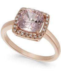 Charter Club - Rose Gold-tone Crystal Square Halo Ring - Lyst
