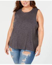 Soprano - Trendy Plus Size Cotton Burnout Tank - Lyst