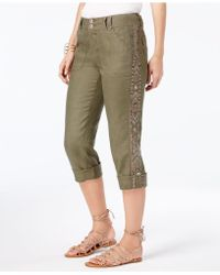 8610917eff3 Lyst - INC International Concepts Linen Embroidered Cargo Pants in Green
