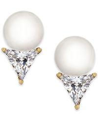 Kate Spade - 14k Gold-plated Imitation Pearl & Trillion Crystal Stud Earrings - Lyst