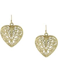 2028 - Gold-tone Puffed Filigree Heart Earrings - Lyst