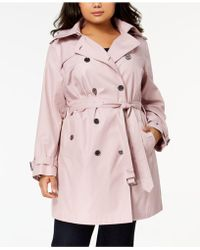 4b43b58100c Michael kors Michael Plus Size Hooded Double-breasted Trench Coat in ...