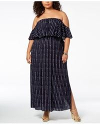 583d3c52045 Soprano - Trendy Plus Size Printed Off-the-shoulder Maxi Dress - Lyst