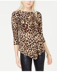 Vince Camuto - Asymmetrical Animal-print Top - Lyst