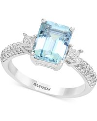 Effy Collection | Aquamarine (2-1/4 Ct. T.w.) & Diamond (3/8 Ct. T.w.) Ring In 18k White Gold | Lyst