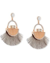 Guess - Rose Gold-tone Stone & Pavé Fringe Drop Earrings - Lyst