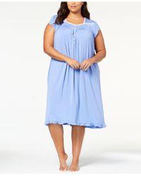 Eileen West - Plus Size Waltz Lace-trim Ruffle-hem Knit Nightgown - Lyst