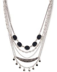 """Lucky Brand - Silver-tone Crystal & Druzy Stone Layered Choker Necklace, 15"""" + 3"""" Extender - Lyst"""
