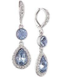 Givenchy - Silver-tone Crystal & Stone Double Drop Earrings - Lyst
