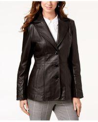 Jones New York - V-stitched Leather Jacket - Lyst