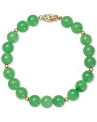 Macy's - Dyed Jadeite (8mm) Beaded Bracelet In 14k Gold - Lyst