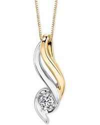 Sirena - Diamond Pendant Necklace (1/5 Ct. T.w.) In 14k Gold And White Gold - Lyst