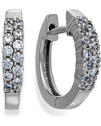 Macy's - Diamond Two-row Hoop Earrings In 14k White Gold (1/4 Ct. T.w.) - Lyst