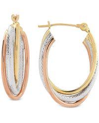 Macy's - Tricolor Overlap Oval Hoop Earrings In 10k Gold, White Gold & Rose Gold - Lyst
