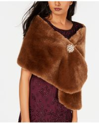 Adrianna Papell - Faux-fur Embellished Shawl - Lyst