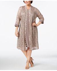 R & M Richards - Plus Size Dress & Sequined Lace Duster Jacket - Lyst
