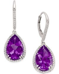 Macy's - Amethyst (4-1/10 Ct. T.w.) And Diamond Accent Oval Drop Earrings In 14k Rose Gold - Lyst