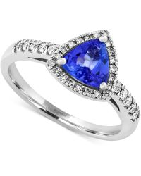 Effy Collection - Tanzanite (3/4 Ct. T.w.) And Diamond (1/5 Ct. T.w.) Trillion Ring In 14k White Gold - Lyst
