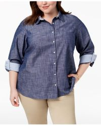 Tommy Hilfiger - Plus Size Cotton Chambray Roll-sleeve Shirt, Created For Macy's - Lyst