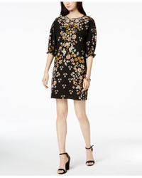 Laundry by Shelli Segal - Floral-print Smocked-sleeve Dress - Lyst