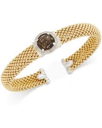 Macy's | Smoky Quartz (3-3/8 Ct. T.w.) And Diamond (1/5 Ct. T.w.) Popcorn Mesh Bangle Bracelet In 14k Gold-plated Sterling Silver | Lyst