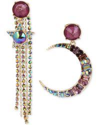 Betsey Johnson - Gold-tone Multi-stone Moon & Star Fringe Mismatch Drop Earrings, Created For Macy's - Lyst