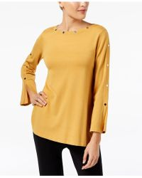 Alfani - Petite Studded Long-sleeve Top, Created For Macy's - Lyst