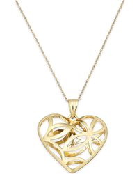 Macy's | Openwork Heart Pendant Necklace In 10k Gold | Lyst