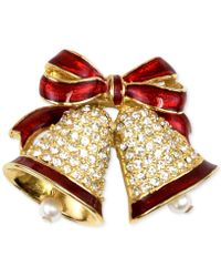 Charter Club - Gold-tone Pavé & Imitation Pearl Bells Brooch - Lyst