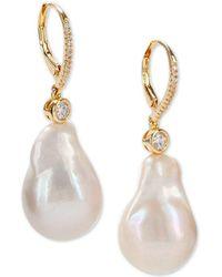 Nina - Gold-tone Crystal & Natural Baroque Pearl Drop Earrings - Lyst