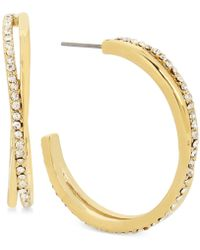 Hint Of Gold - Crystal Pavé Twisted Hoop Earrings In Gold-plate - Lyst