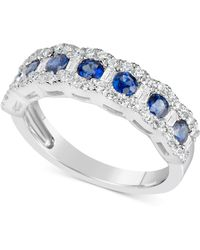 Macy's - Sapphire (7/8 Ct. T.w.) & Diamond (3/8 Ct. T.w.) Ring In 14k White Gold (also Available In Emerald & Ruby) - Lyst