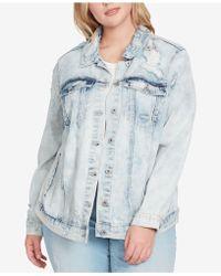 Jessica Simpson - Trendy Plus Size Bleached Distressed Denim Jacket - Lyst