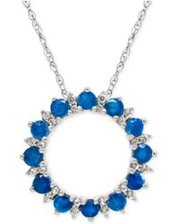 Macy's - Blue Topaz (1 Ct. T.w.) And White Topaz (1/5 Ct. T.w.) Circle Pendant Necklace In Sterling Silver - Lyst