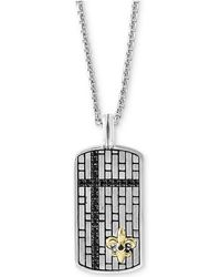 """Effy Collection - Black Sapphire Dog Tag 22"""" Pendant Necklace (3/4 Ct. T.w.) In Sterling Silver & 14k Gold - Lyst"""