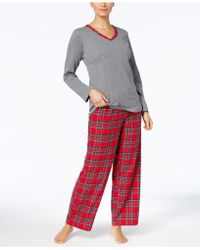 Charter Club - Flannel Mix It Top & Printed Pants Pajama Set - Lyst