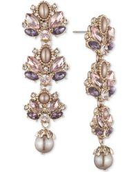 Marchesa - Crystal & Imitation Pearl Cluster Linear Drop Earrings - Lyst