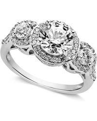 Arabella - Sterling Silver Ring, Swarovski Zirconia Three Stone Ring (3-1/3 Ct. T.w.) - Lyst