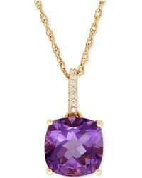 Macy's - Amethyst (3-3/4 Ct. T.w.) And Diamond Accent Pendant Necklace In 14k Gold (also Available In Blue Topaz) - Lyst